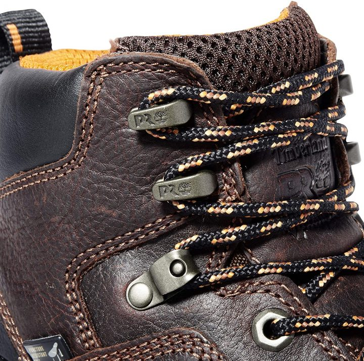 Eyelets of Timberland PRO Men's Endurance PR Work Boots.