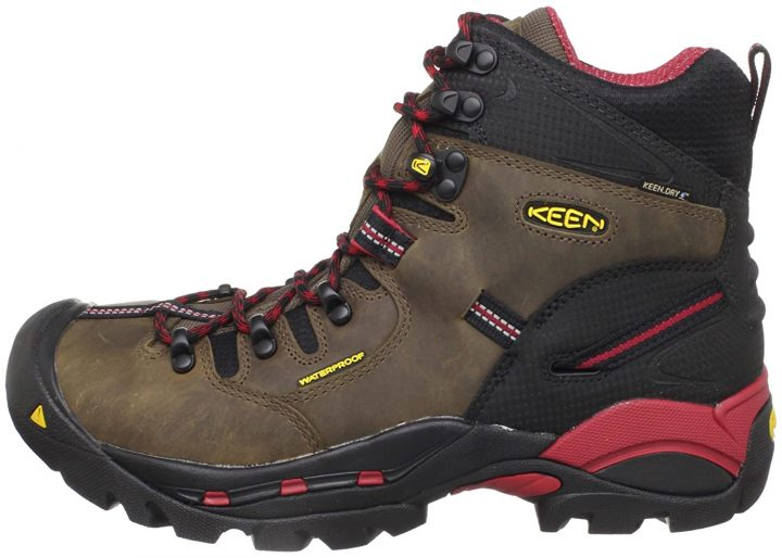 Side view of KEEN Utility Men's Pittsburgh Steel Toe Electrician Work Boots.