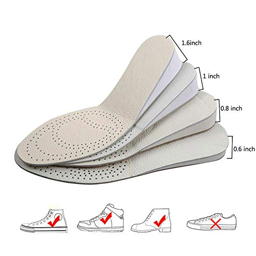 INTLMATE Height Increase Insole, Leather in Two Sides Shoes Heel Inserts Lift to 1.6 Inch