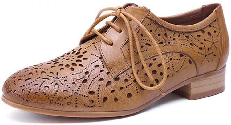 Mona flying Womens Leather Perforated Lace-up Oxfords Brogue Wingtip Derby Saddle Shoes for Girls ladis Women