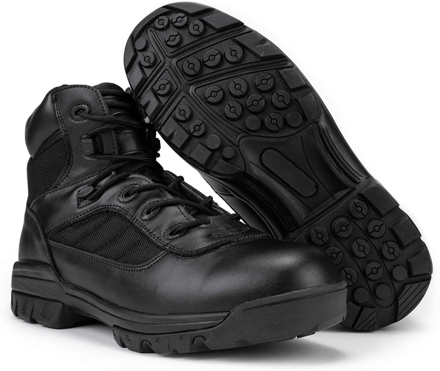 RYNO GEAR Men's Black Tactical EMS Boots with Coolmax Lining for EMT workers.