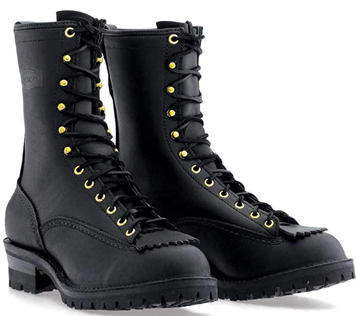 Wesco Men's Firestormer Black Fire and Water Resistant Lace-to-Toe Boots